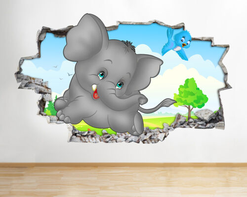 H024 Cute Elephant Nursery Smashed Wall Decal Poster 3D Art Stickers Vinyl Room