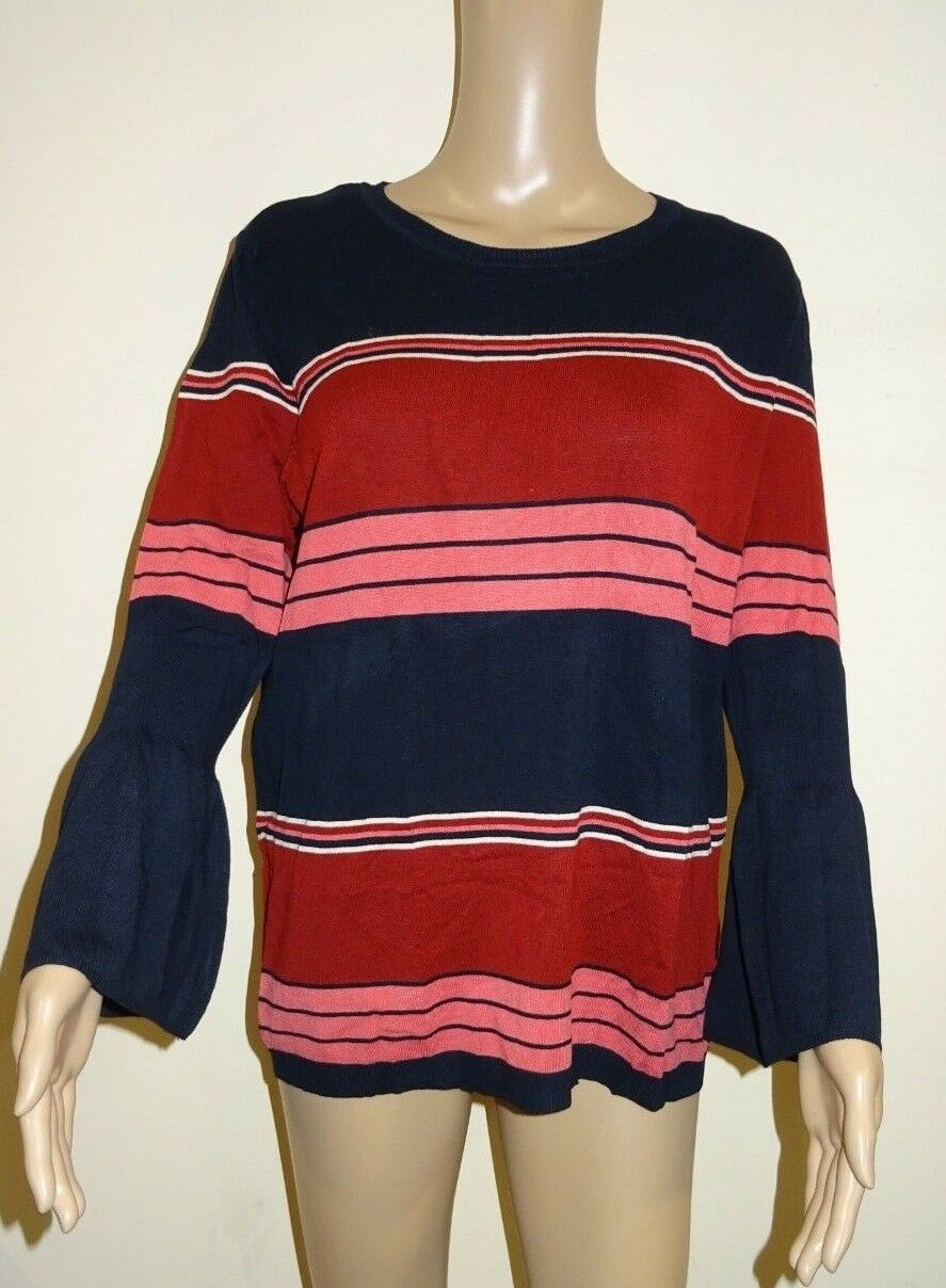 Principles By Ben De Lisi Navy And Pink Striped Bell Sleeves Size 16 VR80 011