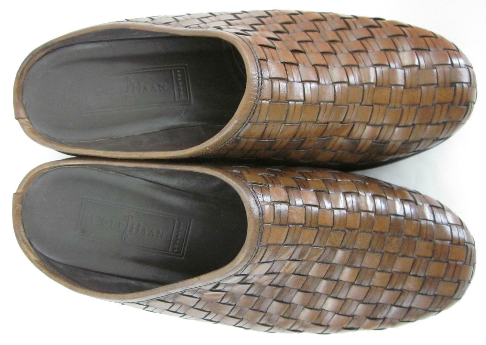 Cole Haan Haan Haan Country Mule Slides Basketweave braun Leather 7.5B Made In Brazil e76235