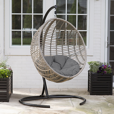 Strange Hanging Egg Chair Resin Wicker Tufted Cushion Stand Porch Swing Patio Sunroom Caraccident5 Cool Chair Designs And Ideas Caraccident5Info