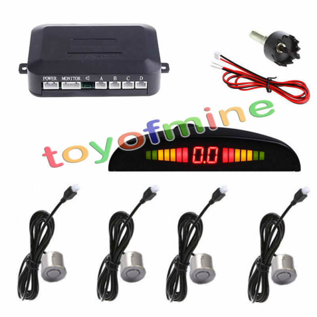 4 Parking Sensors LED Display Car Backup Reverse Radar System Kit 230cm Silver