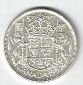 CANADA-1953-SF-LD-50-CENT-HALF-DOLLAR-QUEEN-ELIZABETH-CANADIAN-800-SILVER-COIN