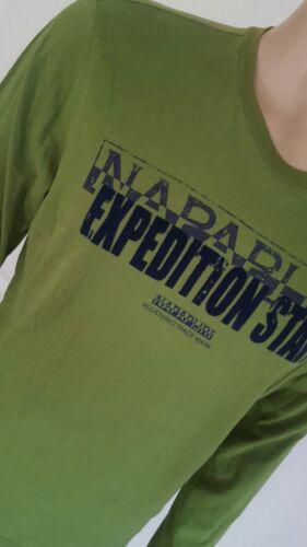 * señores napapijri manga larga camisa camiseta verde Jersey sudadera talla xxl ***