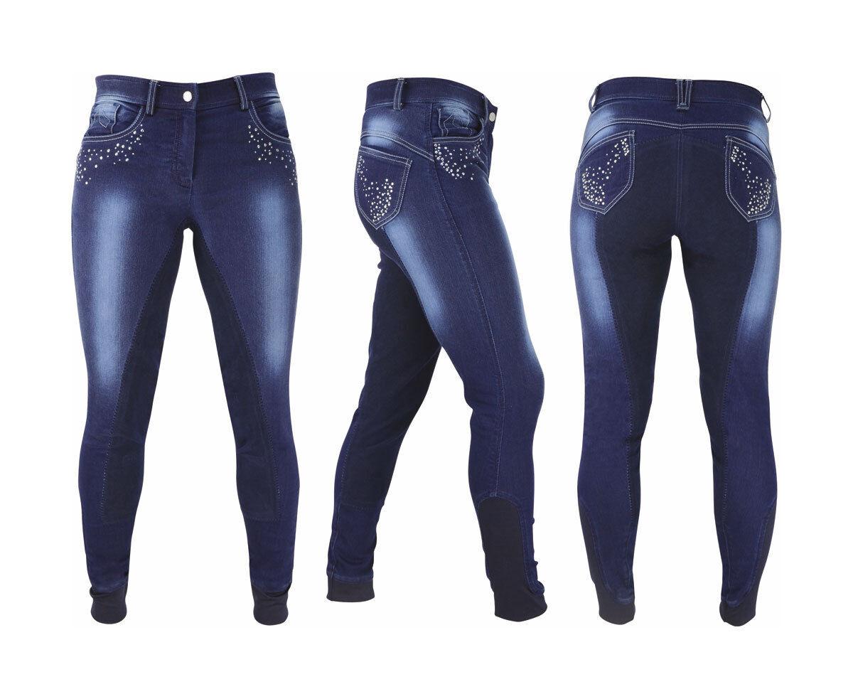 HY Performance Donna Denim Look Diamante Pantaloni da equitazione, sedile in pelle pieno 2434