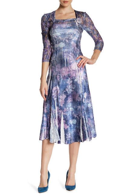 KOMAROV Floral Print 3 4 Lace Sleeve Long Dress.SZ  S