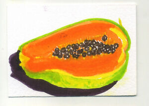 Original-signed-ACEO-by-Lucy-Smith-039-Papaya-039-still-life-food-fruit