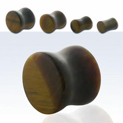 "Pair Stone Tiger Eye Organic Natural Polish Ear Plug Double Flare Saddle 8G-5/8"""