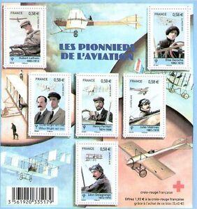 FEUILLET-F4504-NEUF-XX-TP-4504-4509-LES-PIONNIERS-DE-L-039-AVIATION-CROIX-ROUGE