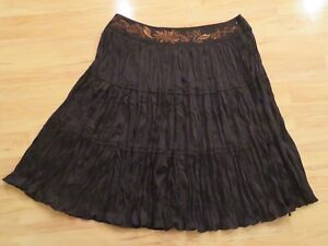New Bandolino Woman Crinkle Skirt Black Bronze Embroidered Beaded Plus Size 22W