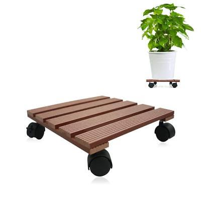 Indoor Outdoor Wooden Caddy Plant Stand Dolly Lockable