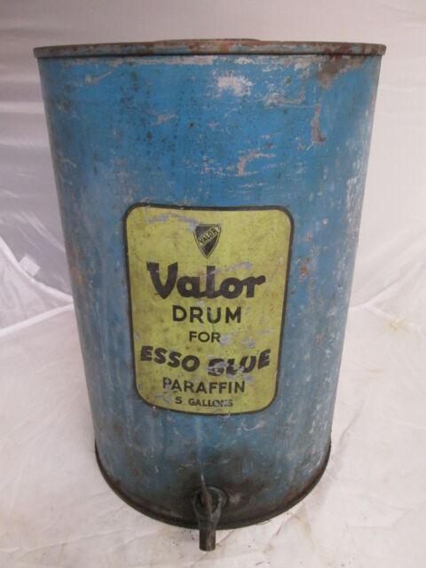 Valor Paraffin drum. Esso blue 5 gallon drum.Shell . Esso. BP. paraffin tin.