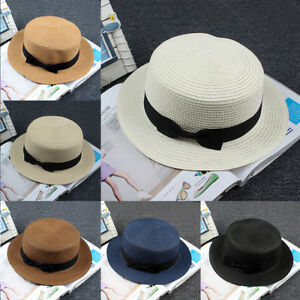 4f55659843ce8 Women s Flat Top Bowknot Decor Beach Sun Braided Straw Boater Hat ...