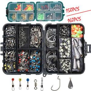 160PCS Fishing Accessories Kit Jig Hooks Sinker Swivels Snaps Tackle Box