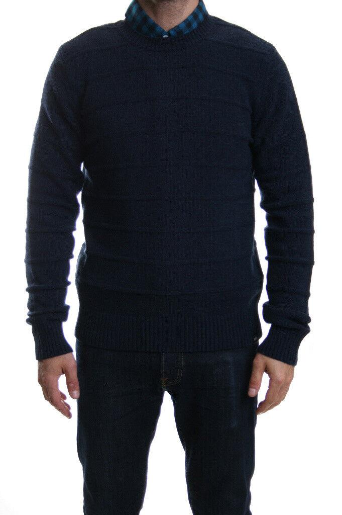 Edwin Standard Fine Stripe Lambs wool Jumper in Navy Blau Marl SALE