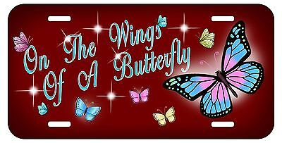 Butterflies Auto License Plate Personalize Gifts Ladies Butterfly Maroon Screws