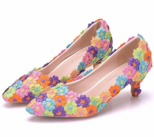 FEMME MULTICOLORS dentelle perles bout pointu Med Talons Mariage Chaussures A411