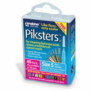 Piksters PIK405 Interdental Brush, Size 5 - Blue (40 Pack)