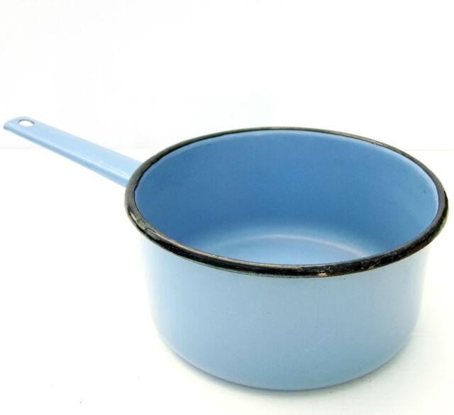 Vintage Retro Blue Enamel Pan Saucepan