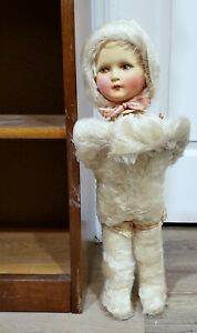 RARE-Antique-Vtg-20-034-Plush-Body-Composition-Head-Candy-Container-Snow-Baby-Doll