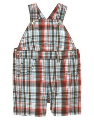 GYMBOREE I DIG DOGS MULTI COLOR PLAID WOVEN OVERALLS 0 3 6 12 NWT