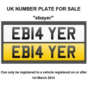 CHERISHED-PRIVATE-NUMBER-PLATE-FOR-SALE-UK-EB14-YER-eBayer-selling-on-ebay
