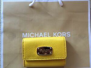 BNEW-AUTH-Michael-Kors-Flap-Leather-Coin-Purse-in-Citrus-Yellow