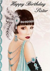 Personalised Birthday Card Art Deco Lady Any Name Age Relation Ebay