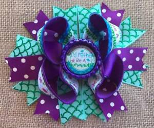 Purple Green I'd Rather Be A Mermaid Bottle Cap Hair Bow 5""