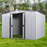 Diy Backyard Metal Garden Shed Storage Kit Building Doors Steel Outdoor 3 Size