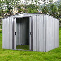 Diy Backyard Metal Garden Shed Storage Kit Building Doors Steel Outdoor 3 Size