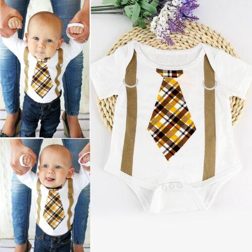 Newborn Kids Baby Boys Gentleman Cotton Romper Bodysuit Jumpsuit Outfit Clothes