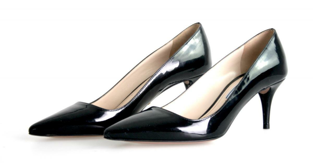AUTHENTIC LUXURY PRADA PUMPS 1I619D BLACK BLACK BLACK NEW US 6.5 EU 36,5 37 d96c2f