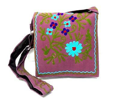 Purse flowers vine embroidered mauve shoulder bag hippie boho cotton NWT