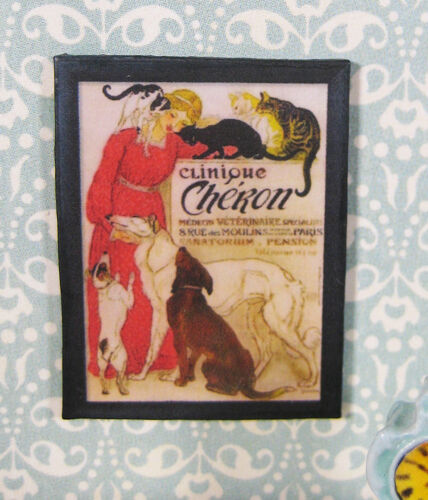 DOLLHOUSE miniature French poster 1:12 advertising sign Vet dogs cats
