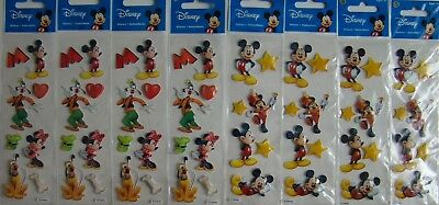 Mickey Minnie Goofy Pluto Sandylion ALL DISNEY LOT of 8 Stickers Brand NEW