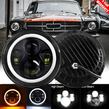For Ford Mustang 1965 1978 7 Inch Black Led Headlight Halo Ring Angel Eye Fits Mustang