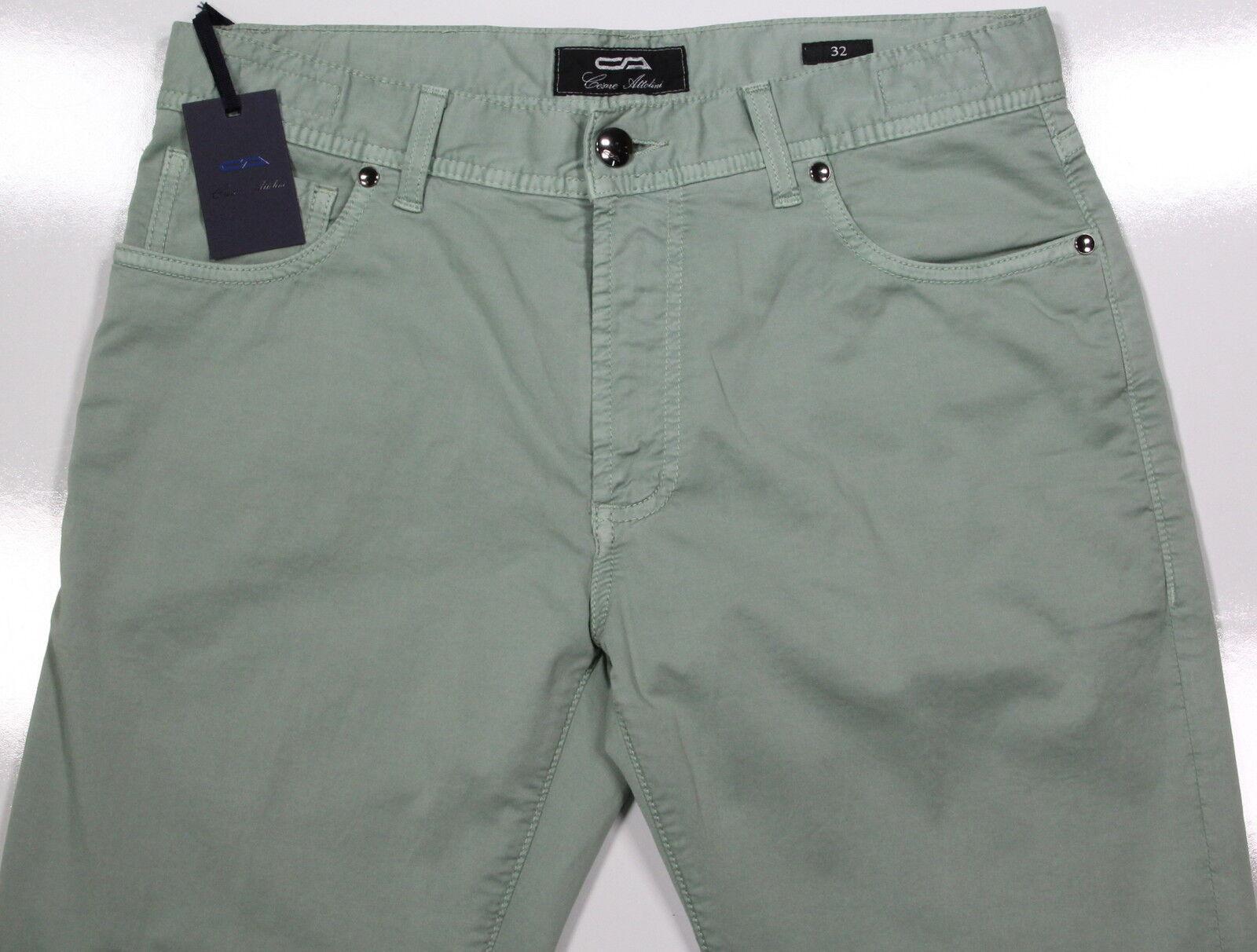 New CESARE ATTOLINI Light Mint Grün Slim Fit Fit Fit Cotton Stretch Jeans 32 0c3