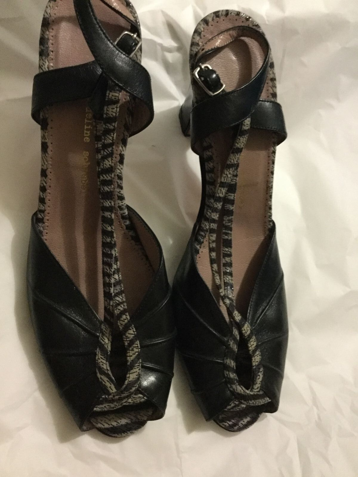 EXCELLENT CONDITION Jacqueline Schnabel Open-Toe Slingbacks - 38.5 8.5