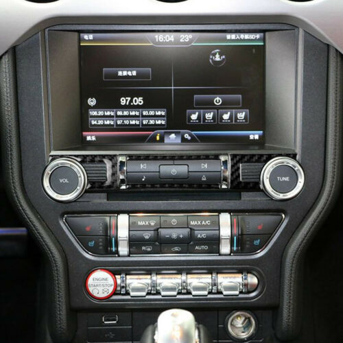 4x Carbon Fiber Center Console CD Switch Button Cover For Ford Mustang 2015-2019