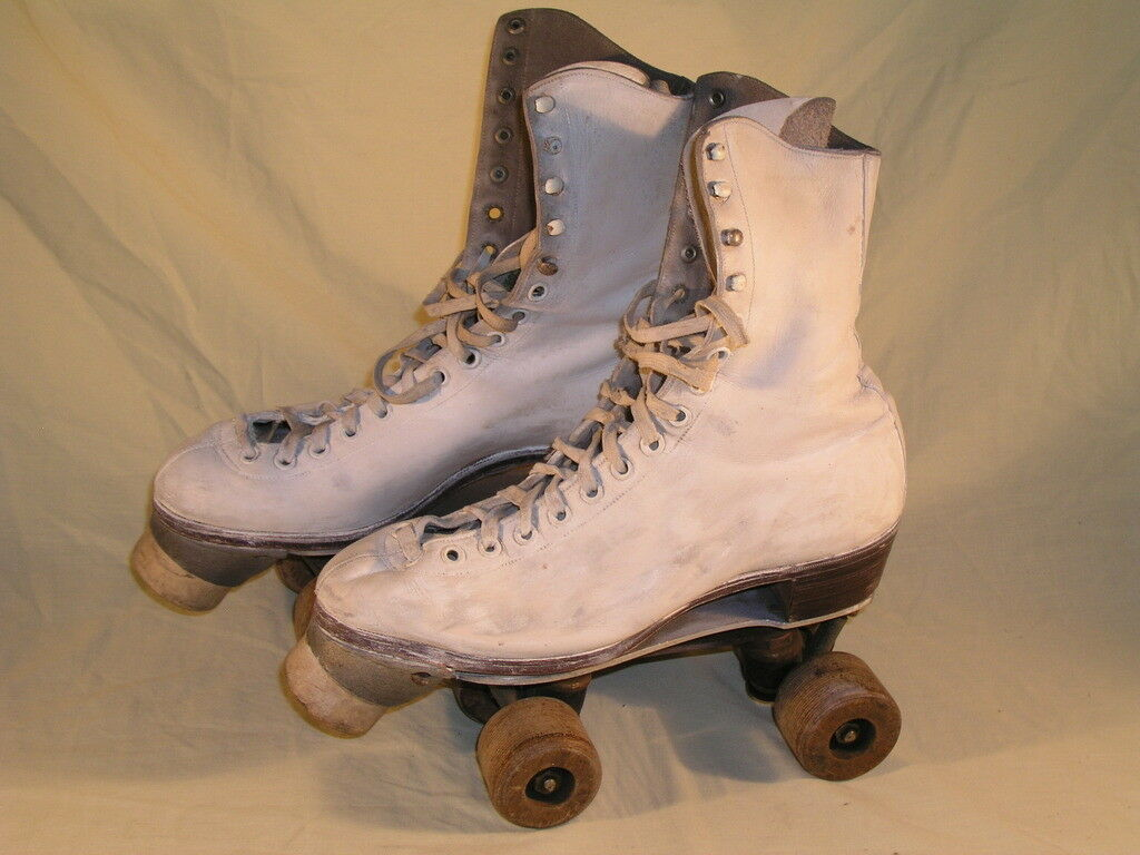 Pair of Vintage Roller Boots Size 3 Invicta Club, The Stuburt Special White Colo