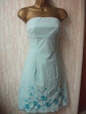 Jane Norman Strapless Dress Size 8UK   Aqua Blue / Beaded/Sequined