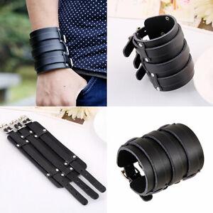 Men-Adjustable-Wide-Genuine-Leather-Belt-Wristband-Bangle-Cuff-Bracelet-Punk