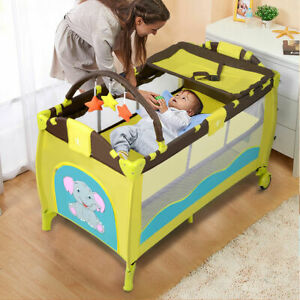 New-Green-Baby-Crib-Playpen-Playard-Pack-Travel-Infant-Bassinet-Bed-Foldable