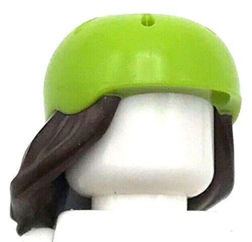 Lego New Dark Brown Minifigure Hair Combo Hair with Hat Long Hair Bike Helmet