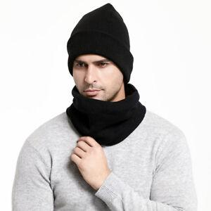 2Pcs-Hommes-Femmes-Chapeau-et-echarpe-ensemble-hiver-Chaud-Solide-Soft-Knit-Beanie-Cap-echarpes