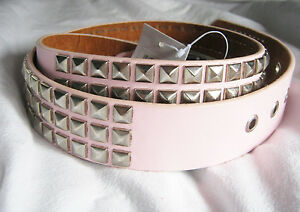 Ladies-Pink-Punk-Studded-Belts-Silver-studs-punk-80s-rocker-PU-slight-2nd