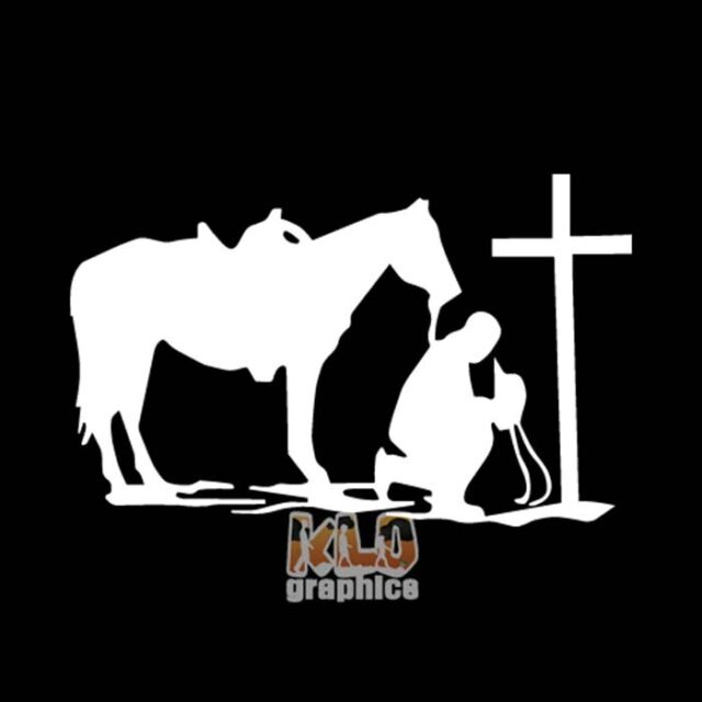 Cowboy Praying With Horse Western Rodeo Car Truck Window Vinyl