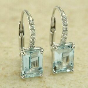 1-5Ct-Emerald-Cut-Aquamarine-Diamond-14K-White-Gold-Finish-Huggie-Hoop-Earrings