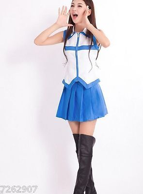 NEW COSPLAY Fairy Tail Cosplay Lucy Heartfilia Costume Coat Dress Set S-XXL