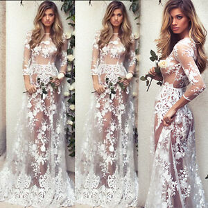 555d5d15763 Image is loading Sexy-Women-Summer-Boho-Lace-Long-Maxi-Evening-